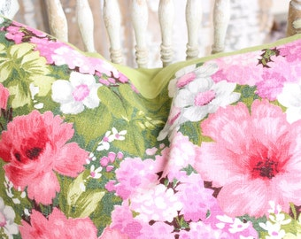 Retro 60s 70s Vintage Floral Pattern Barkcloth Decorative Throw Pillow Cushion