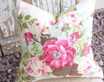 Vintage 40s Fabric Pink English Cabbage Rose Floral Pattern Chic Garden Cottage Decorative Throw Pillow