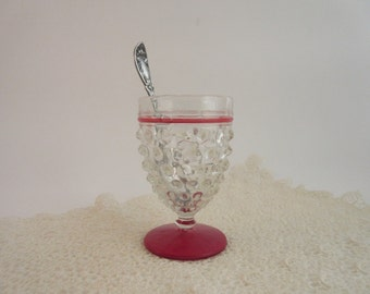 Vintage Hobnail Stemmed Cordial Glass - Clear with Red - Unique