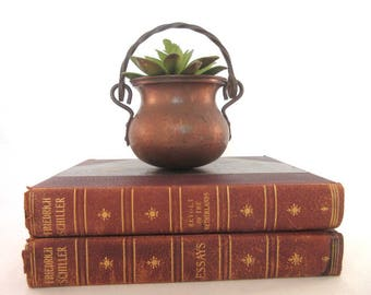 Vintage Copper Pot Small Hammered Cauldron Handled Planter