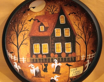 Folk Art Halloween Hand Painted Primitive Wood Bowl, Lost Souls Lodge, Ghosts, Full Moon, Bats, Crows, Pumpkins, Spooky Trees MADE TO ORDER