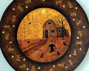 Halloween Folk Art Hand Painted Plate, Cabin in the Woods, Witch Calling Her Cats, Crow, Stars, Bats, Full Moon, Autumn leaves MADE TO ORDER
