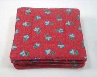 French Country Fabric Coasters Set of 4 Charles Demery Fabric Coasters Red Coasters Beverage Coasters
