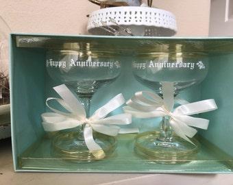Vintage Mid Century Happy Anniversary Toasting Glasses