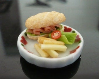 Sandwich and French Fried Salad on Platel Dollhouse Miniatures Food Supply Deco