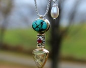 sterling silver 22k 18k 14k pendant w/ turquoise, ruby & rutilated quartz and freshwater pearl  on 20 inch sterling silver chain