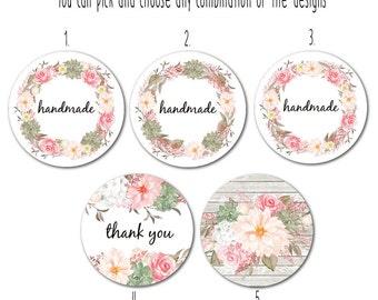 "Custom Round Stickers - Favor Stickers - Handmade Stickers - Custom Stickers - Flower Stickers, 1.5""  Set of 25"