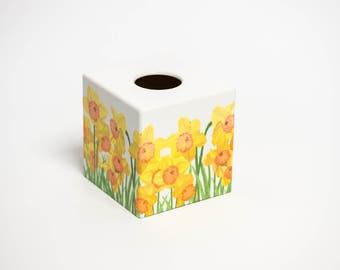 Spring Daffodil  Wooden Handmade Tissue Box Cover