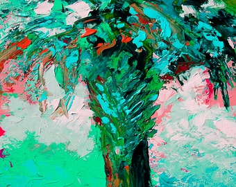 "Fine Art Giclee Print ""Palmetto Abstract"" From Original Tree Painting by Claire McElveen Signed"