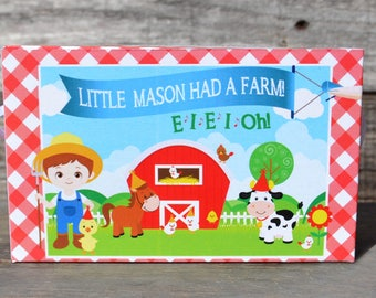 15 Personalized Boxes Farm Birthday Party-Boys Birthday Party Petting Zoo Party, Animal Cracker Box Barn Favor Cookie Box Farm Animals Party