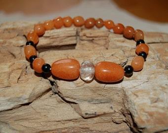 Mens Bracelet Red Aventurine Black Onyx Clear Quartz Bracelet for Men Grounding Jewelry for Men Gift Ideas for Him Meditation Root Chakra
