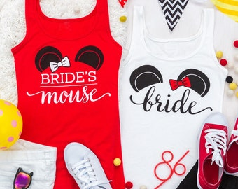 Bachelorette Party Shirts | Bride's Mouse | Mouse of Honor | Party Mouse | Bride | Red black and white