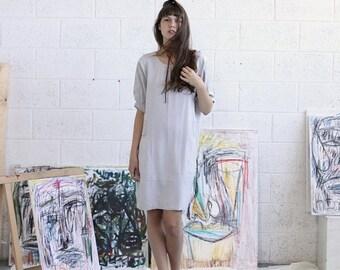 Pre Winter Sale 15% Embroidered Dress, Silver Midi Dress, Casual Dress