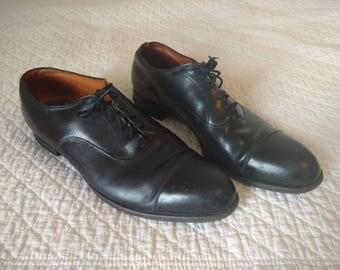 Vintage Mens Shoes Black McHale Cap Toe Size 13 C