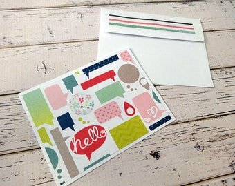 Blank Note Cards, Note Card Set, Blank Cards, All OccassionNotes, Stationary, Set of 5 Note Cards with Matching Envelopes, Hello Note Cards