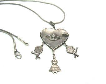Heart Locket Pendant Necklace. Angel or Cherub. Guatemala Sterling Silver Large Guardapelo. Love Token Charms. Vintage Ethnic Folk Jewelry