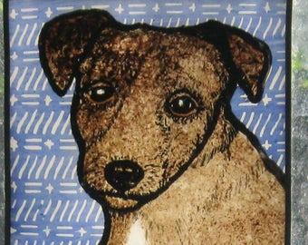 Stained Glass Dog Suncatcher Brown Puppy Dachshund  JRN51