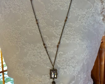Antique brass one of a kind statement tassel necklace beautiful Christmas gift
