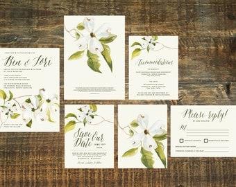 Printable Cherry Blossom Wedding Invitation Set   Flower Wedding Invitation, Invitation Suite, Ivory Invitation, Spring Wedding