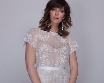 Bohemian lace wedding dress, wedding lace dress