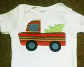 Red Vintage Truck Christmas Onesie, Ready to Ship