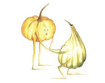 Pumpkins - ART PRINT - illustration, home decor, kitchen art, nursery, kids room, gourd, fall decor