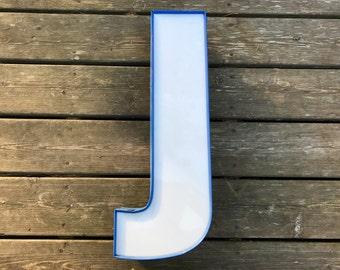J - Reclaimed Metal letter - bright blue - vintage condition