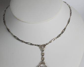 Art Deco 14kt Double Rock Quartz Crystal Filigree Pendant