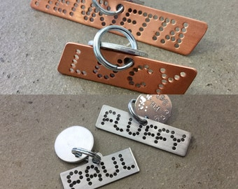 Hand punched pet ID tag personalized for your dogs pink copper silver steel yellow brass