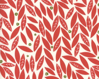 Merrily Winter Holly in Berry Red,  Gingiber, 100% Cotton, Moda Fabrics, 48212 12