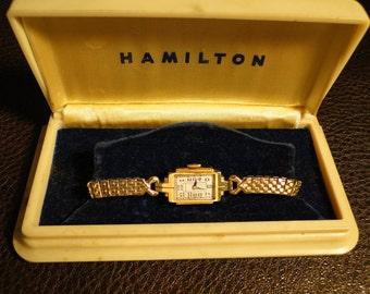 Vintage HAMILTON ladies wrist watch with original box steampunk collector
