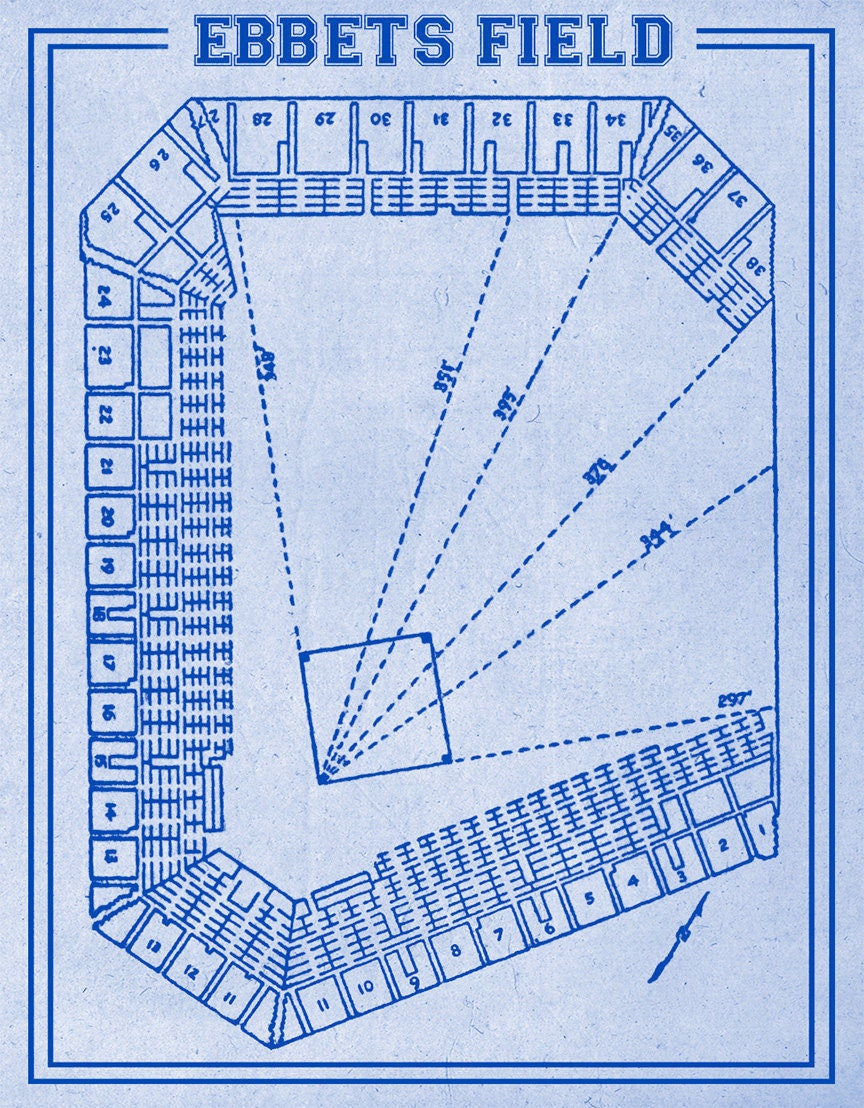 Print of vintage ebbets field seating chart on photo paper for 12x15 calculator