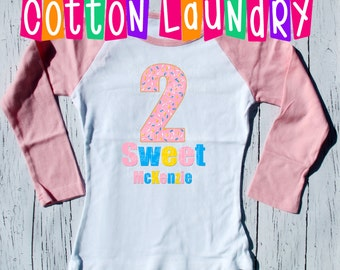 "Two 2nd birthday shirt - ""Two Sweet"" personalized birthday tee shirt for 2nd birthday two with sprinkles raglan, tee, tank shirt"