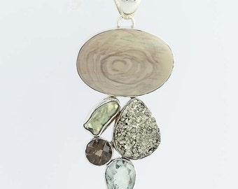 Multi-Gemstone Pendant - Sterling Chalcedony Pearl Pyrite Quartz Q6565