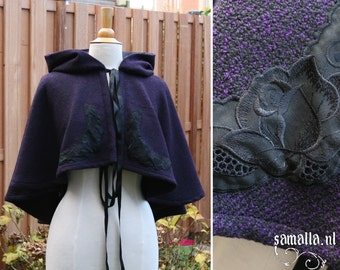 Little Riding Hood in purple and black with vintage lace details (Larp, Reenactment, renfaire, cosplay, Charles Dickens) - <READY TO SHIP>