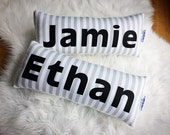Belle's Bows name pillow/cushion.Grey and white stripe. Personalised Boys.Nursery decor.kids bedding.Pillow. Cushion.Black and grey decor.