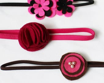 Set of 3 Pink Headbands - Baby Headband - Headband for Babies / Toddlers - Pink Felt Flower - Baby Hairband - 1-3 yrs - Ready to ship