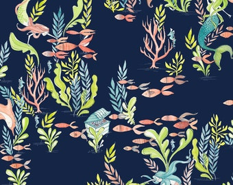 Fabric by the Yard-- Mermaid Days-At the Bottom of the Sea in Navy by Cori Dantini for Blend Fabrics