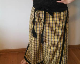 Beach pajamas in yellow homespun plaid