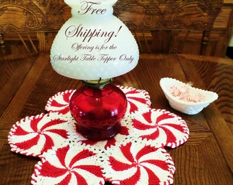 Starlight Table Topper Hand Crocheted 19 inch Homespun Doily Christmas Red and Bright White FREE SHIPPING!