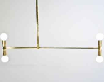 Meridian - Brass chandelier - Asymmetric -Modern Mid Century - Bauhaus