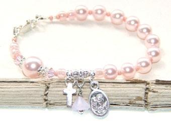 Baptism Gift or 1st Holy Communion Gift / Pink Pearl Bracelet, Holy Family Medal