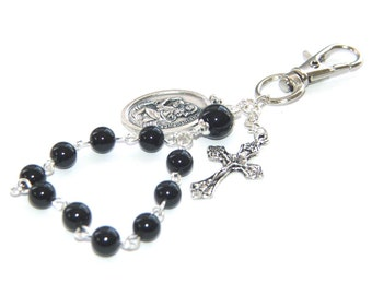 Clip-On Travel rosary or Key Chain, Black Jade, Saint Christopher Medal