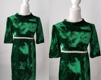 Vintage 1960s Green Velvet Mod Dress, Boho, Hippie Dress