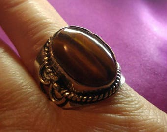 Tigers Eye Silver plated Ring