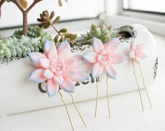 Pink Blue Succulent Hair Pins Hairpin Set Polymer Clay Bobby Pins Hair Decoration Accessory Women Handmade Decoration Wedding Bridal Hair