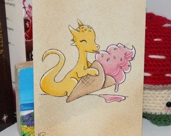 Original Watercolour - Ice Cream Dragon