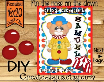 Pin the Nose on the Clown PRINTABLE party game Circus Birthday Party Game Carnival party Pin theTail DIY Printable game poster Download