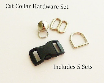 Cat Collar Hardware, Cat Collar Hardware Supplies, Breakaway Hardware for Cat Collars, Collar Hardware Five (5) Sets of Cat Collar Hardware