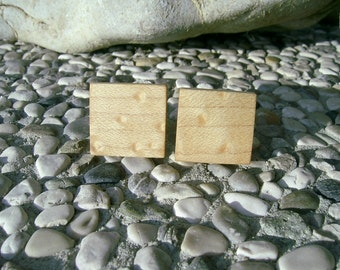 WOODEN CUFFLINKS - BIRDSEYE Maple Wood Handmade Square Wooden Cufflinks